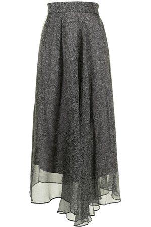 Brunello Cucinelli Women Printed Skirts - Paisley-print long skirt - Grey