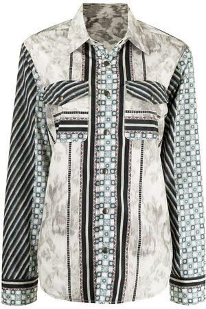 PIERRE-LOUIS MASCIA Women Denim Jackets - Patchwork-print shirt jacket - Multicolour