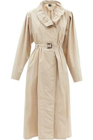 Isabel Marant Women Trench Coats - Dipanima Frill-neck Canvas Trench Coat - Womens
