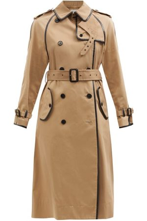 Saint Laurent Women Trench Coats - Leather-trimmed Gabardine Trench Coat - Womens