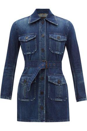 Saint Laurent Women Denim Jackets - Belted Distressed Denim Jacket - Womens - Denim