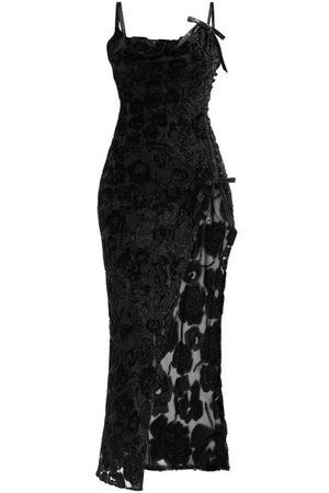 Alessandra Rich Rose Velvet-devoré Bias-cut Slip Dress - Womens