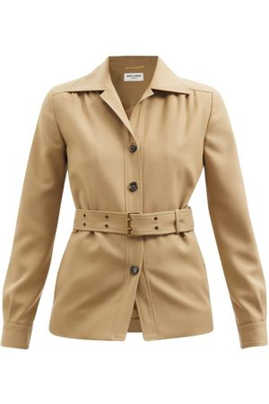 Saint Laurent Belted Wool-twill Shirt Jacket - Womens
