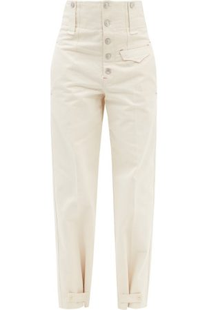 Isabel Marant Women Pants - Darlena High-rise Button-cuff Cotton Trousers - Womens - Ivory