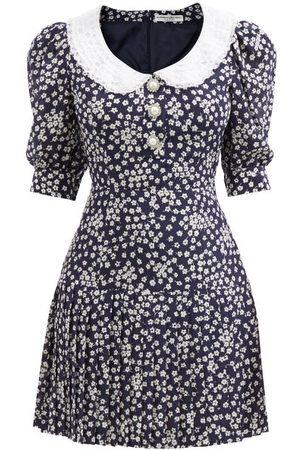 Alessandra Rich Crystal-button Daisy-print Silk Mini Dress - Womens - Navy