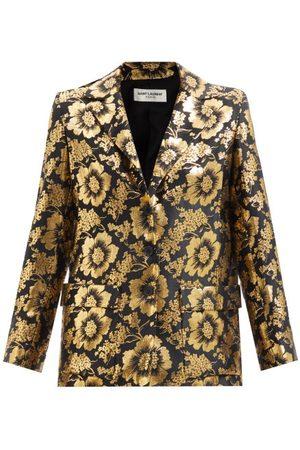 Saint Laurent Lotus-jacquard Silk-blend Satin Blouse - Womens - Multi