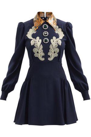 Alessandra Rich Macramé Lace-appliqué Wool-blend Mini Dress - Womens - Navy