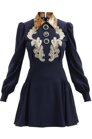 Alessandra Rich Women Party Dresses - Macramé Lace-appliqué Wool-blend Mini Dress - Womens - Navy