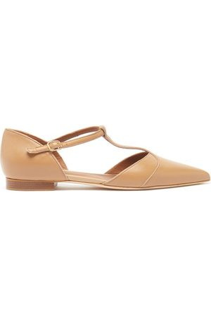MALONE SOULIERS Immy Point-toe Leather Flats - Womens - Nude