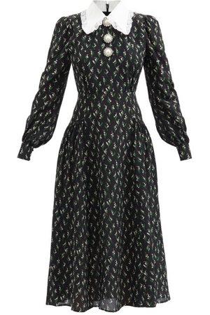 Alessandra Rich Floral-print Pearl-button Silk Midi Dress - Womens - Print