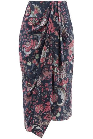 Isabel Marant Women Printed Skirts - Bree Floral-print Wrap Silk-blend Midi Skirt - Womens - Navy Multi
