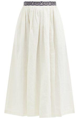 LE SIRENUSE, POSITANO Jane Calypso-print Trim Linen Midi Skirt - Womens