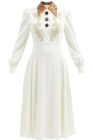 Alessandra Rich Macramé Lace-appliqué Wool-blend Midi Dress - Womens - Multi