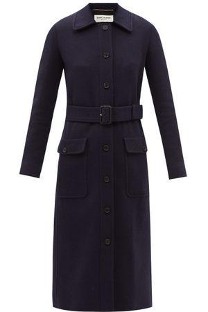 Saint Laurent Belted Wool-blend Jersey Coat - Womens - Navy
