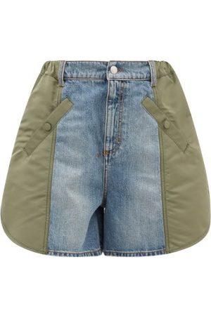 Alexander McQueen High-rise Deconstructed Denim Shorts - Womens - Denim Multi