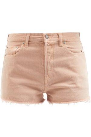 Saint Laurent Distressed Cut-off Denim Shorts - Womens - Light
