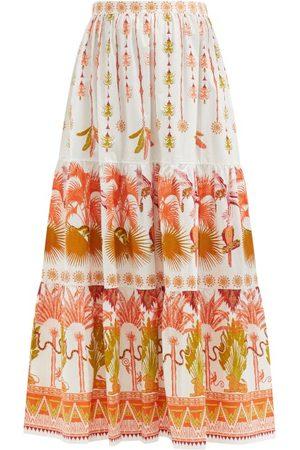 LE SIRENUSE, POSITANO Women Printed Skirts - Saskia Winter Garden-print Cotton-poplin Skirt - Womens - Print