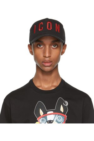Dsquared2 Men Caps - Black & Red Embroidered Baseball Cap