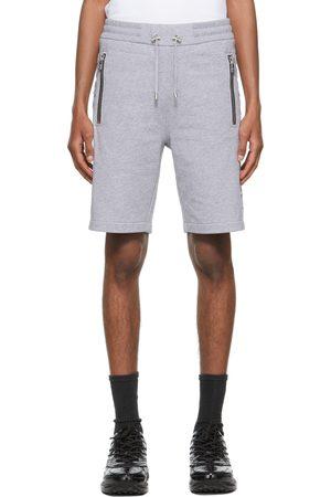 Balmain Grey Embossed Logo Bermuda Shorts
