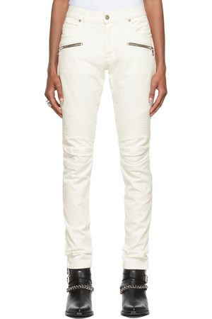 Balmain White Ribbed Slim Jeans