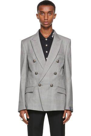 Balmain Black & White Prince of Wales Double-Breasted Blazer