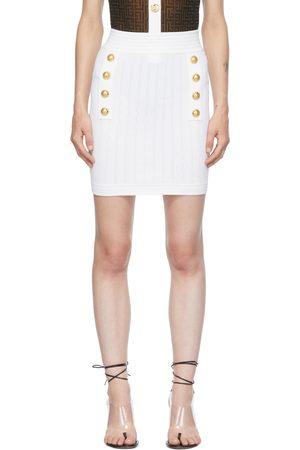 Balmain White Double-Buttoned Skirt