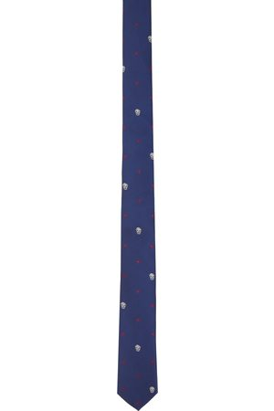 Alexander McQueen Blue & Red Silk Star Skull Tie
