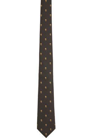 Alexander McQueen Black Skull & Polka-Dot Tie