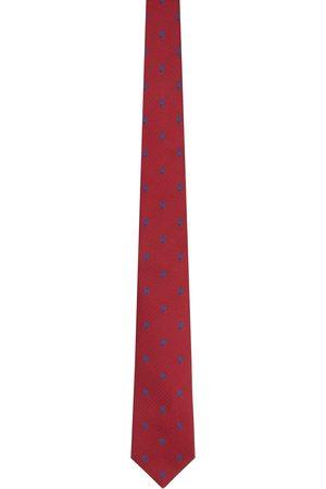 Alexander McQueen Red & Blue Silk Skull Polka Dots Tie