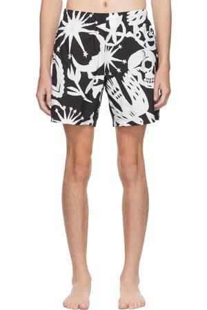 Alexander McQueen Black & White Papercut Swim Shorts
