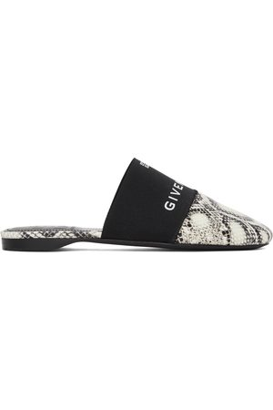 Givenchy Off-White & Black Python Bedford Mules