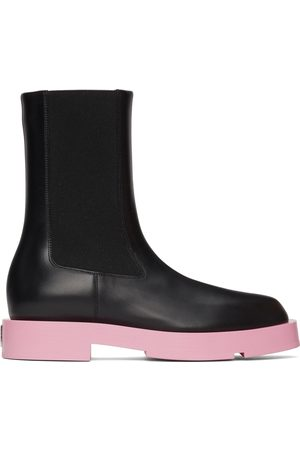 Givenchy Black & Pink Squared Chelsea Boots