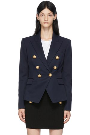 Balmain Navy Wool 6-Button Permanent Blazer
