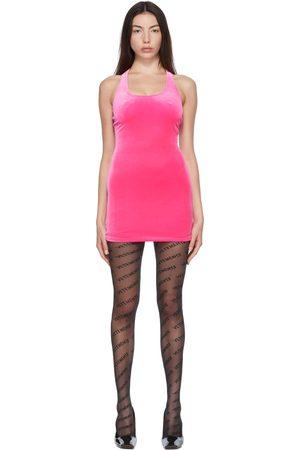 Vetements Women Party Dresses - Pink Velvet Open Back Mini Dress