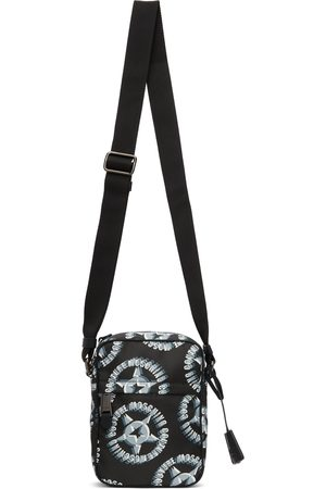 Moschino Black Nylon Logo Star Print Messenger Bag