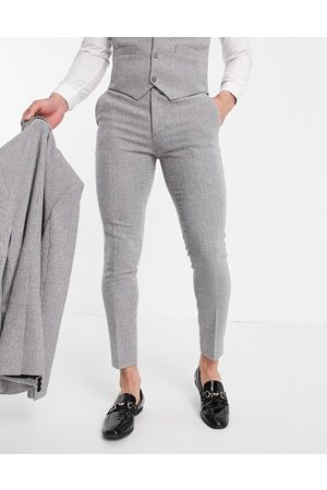 ASOS Wedding super skinny wool mix suit pants in puppytooth-Grey