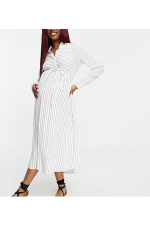 Mama Licious Mamalicious waist tie shirt dress in stripe