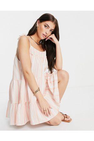Rhythm Montanna shirred mini beach dress in and white stripe