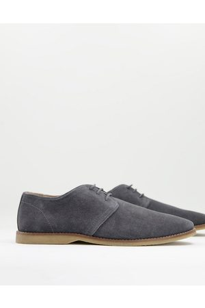 ASOS Men Formal Shoes - Derby shoes in suede with piped edging-Grey
