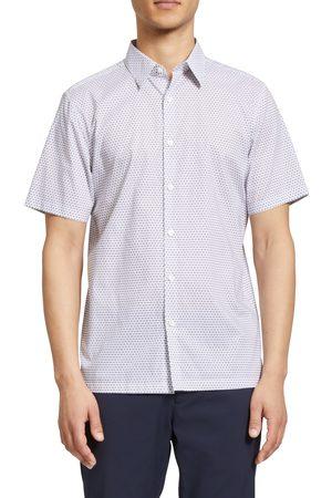 THEORY Men's Irving Metric Dot Print Short Sleeve Cotton Button-Up Shirt