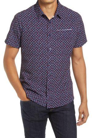 7 Diamonds Men's Freedom Train Short Sleeve Stretch Button-Up Shirt