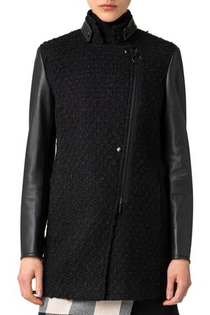 AKRIS Women's Boucle & Leather Long Moto Jacket