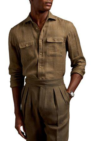 Ralph Lauren Men's Glen Plaid Linen Button-Up Shirt