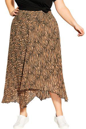 City Chic Plus Size Women's Animal Print Asymmetric Skirt