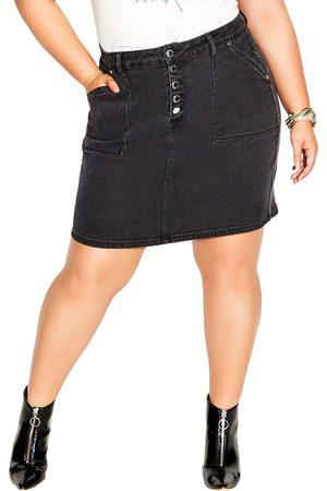 City Chic Plus Size Women's High Waist Denim Skirt