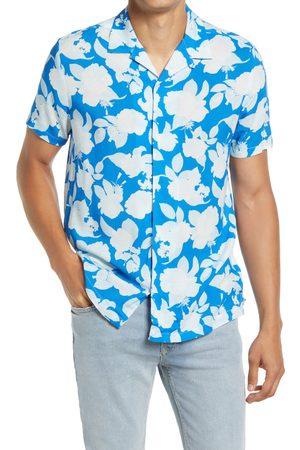 Topman Men's Floral Short Sleeve Button-Up Camp Shirt
