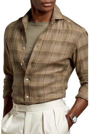 Ralph Lauren Men's Plaid Long Sleeve Button-Up Linen Shirt