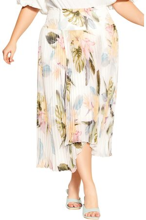 City Chic Plus Size Women's Barbados Floral Pleated Asymmetric Hem Skirt