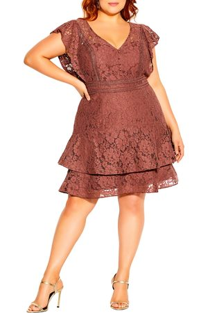 City Chic Plus Size Women's Sienna Lace Fit & Flare Minidress