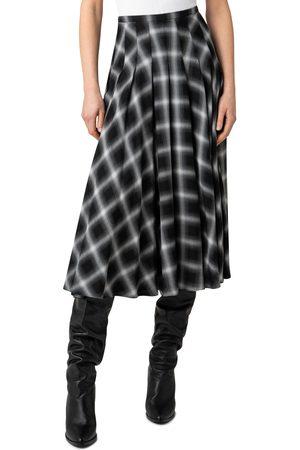AKRIS Women's Plaid Pleated Midi Skirt